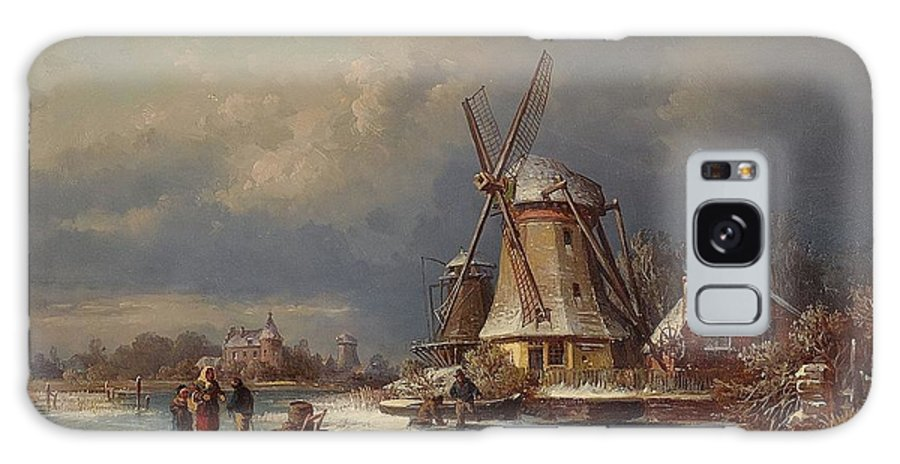 Joseph Magnus Stack Winter Landscape With Mills Zaardam Galaxy S8 Case featuring the painting Winter Landscape With Mills Zaardam by MotionAge Designs