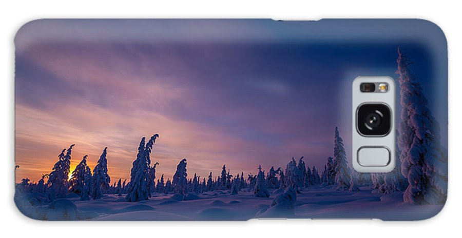 Northern Galaxy S8 Case featuring the photograph Winter Lanscape With Sunset, Trees And Cliffs Over The Snow. by Oxana Gracheva