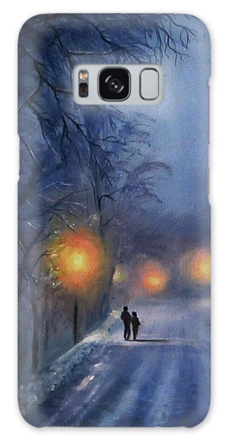 Winter Night Galaxy Case featuring the painting Winter lights by Natalja Picugina