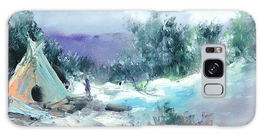 Snow Galaxy S8 Case featuring the painting Winter Lodge by Sally Seago