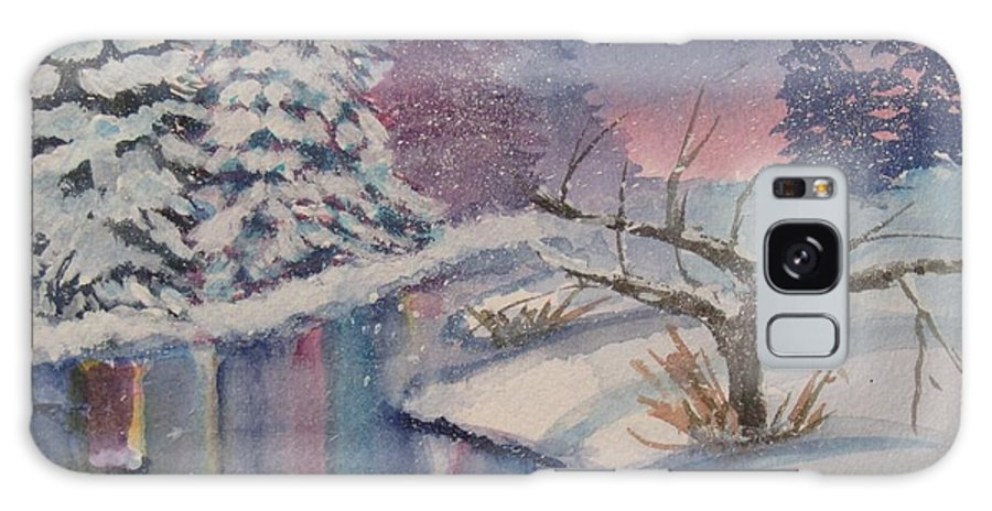 Reflections In Stream Galaxy S8 Case featuring the painting Winter Reflections by Donna Cary
