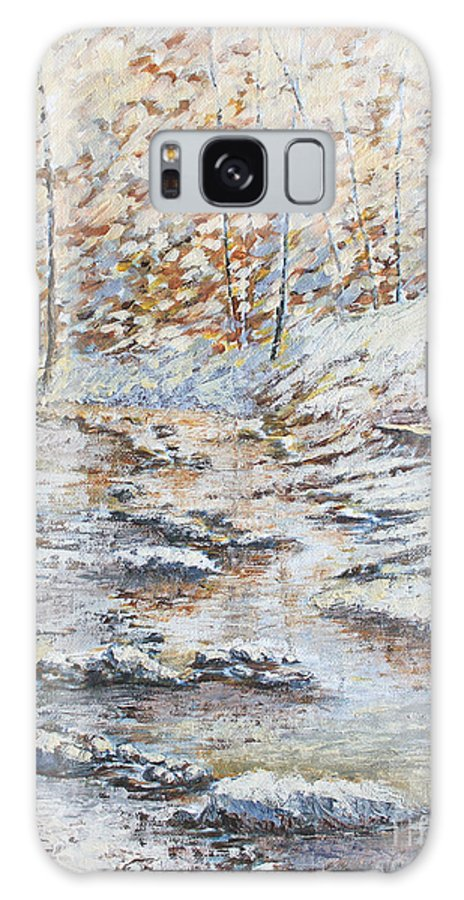 Landscape Galaxy S8 Case featuring the painting Winter River by Todd Blanchard