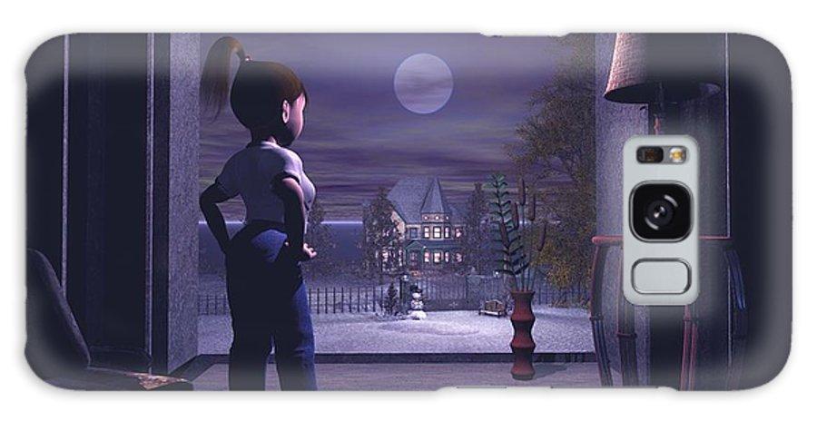 Winter Scene Threw A Window Galaxy S8 Case featuring the digital art Winter Scene Threw A Window by John Junek