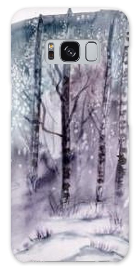Watercolor Landscape Painting Galaxy S8 Case featuring the painting Winter Snow Landscape Painting Print by Derek Mccrea