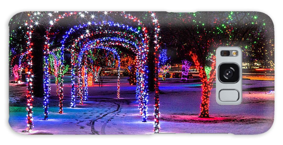 Christmas Locomotive Park Winter Spirit Lights Snow Wintertime Path Lewiston Idaho White Galaxy S8 Case featuring the photograph Winter Spirit At Locomotive Park by Brad Stinson