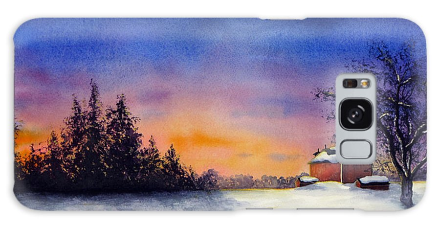 Sunset Galaxy S8 Case featuring the painting Winter Sunset by Christina Meeusen