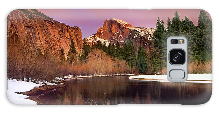 North America Galaxy S8 Case featuring the photograph Winter Sunset Lights Up Half Dome Yosemite National Park by Dave Welling