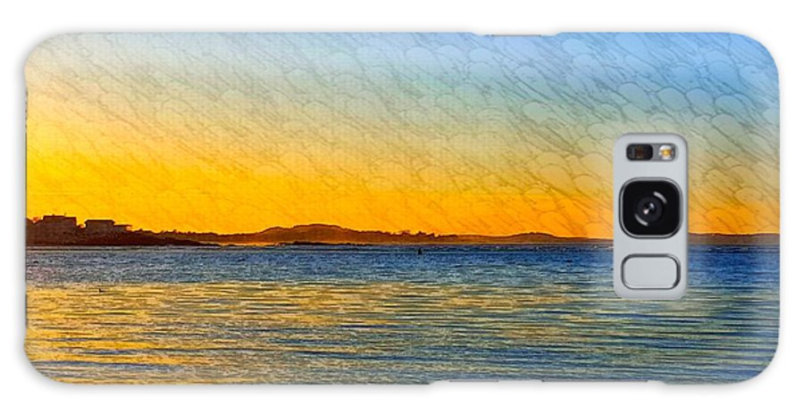 Blue Ocean Water Galaxy S8 Case featuring the photograph Winter Sunset Over Ipswich Bay by Harriet Harding