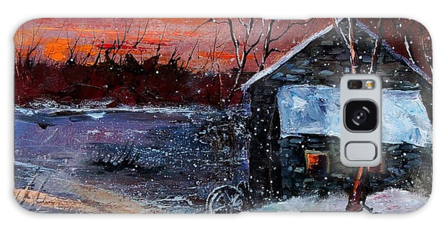 Winter Galaxy S8 Case featuring the painting Winter Sunset by Pol Ledent