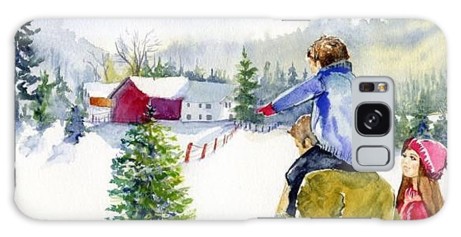 Family. Little House Galaxy S8 Case featuring the painting Winter Warmth by Laura Rispoli