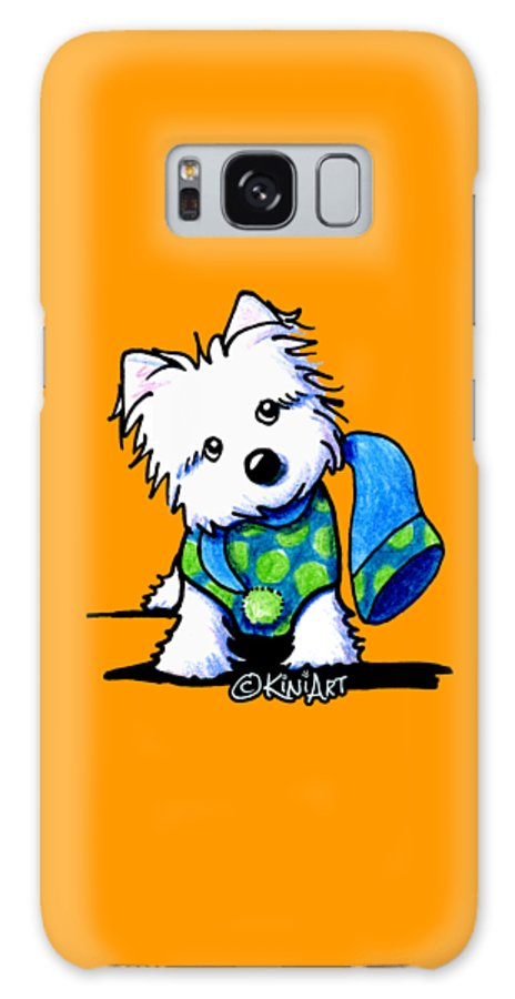 Westie Galaxy S8 Case featuring the drawing Winter Westie With Lime by Kim Niles