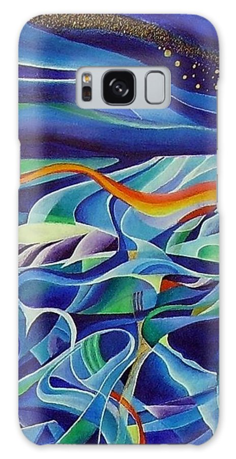 Winter Vivaldi Music Abstract Acrylic Galaxy S8 Case featuring the painting Winter by Wolfgang Schweizer