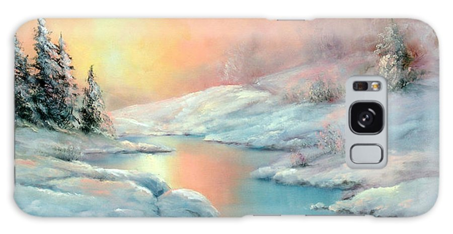 Winter Galaxy Case featuring the painting Winter's Sunset by Sally Seago