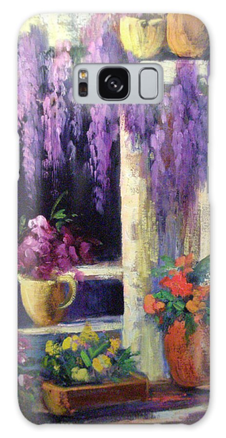 Flowers Galaxy S8 Case featuring the painting Wisteria Blooms by Sally Seago
