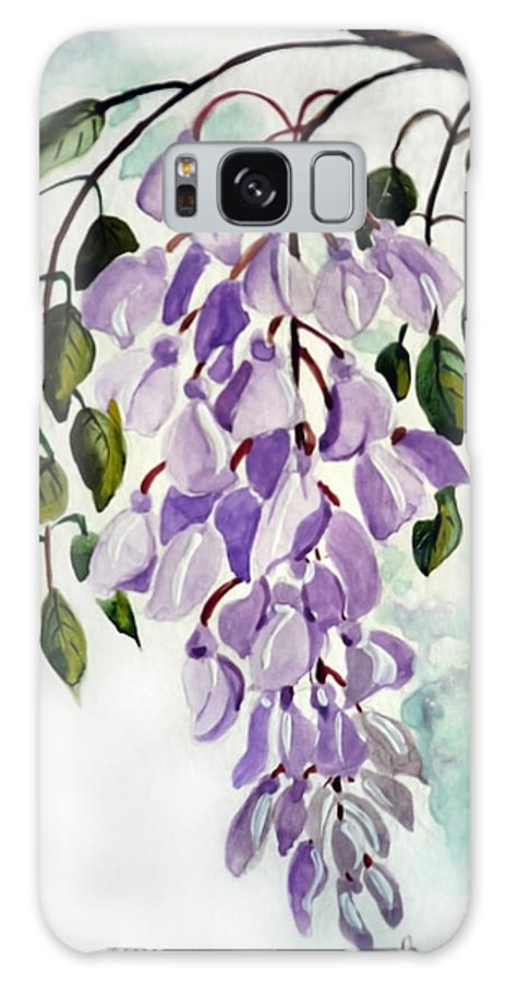 Floral Paintings Flower Paintings Wisteria Paintings Botanical Paintings Flower Purple Paintings Greeting Card Paintings  Galaxy Case featuring the painting Wisteria by Karin Dawn Kelshall- Best
