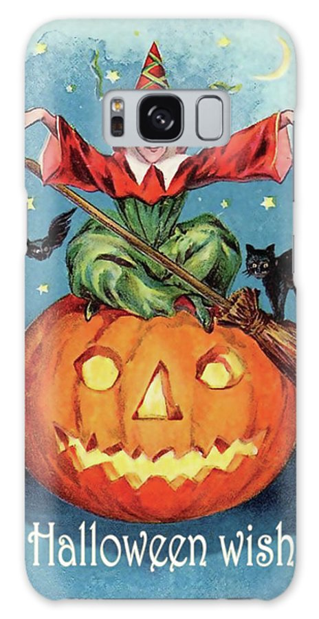 Halloween Night Galaxy S8 Case featuring the mixed media Witch In A Big Pumpkin by Long Shot