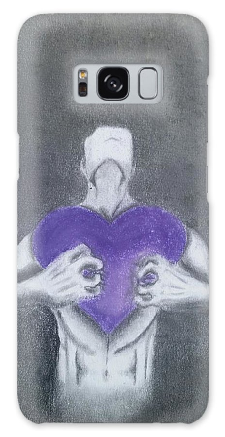 Man Male Human Humanity Purple Bruse Brused Hold Holding Heart Hearts Gray Galaxy S8 Case featuring the drawing With My Heart In My Hands by Brynn Strickland