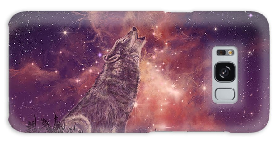 Wolf Galaxy S8 Case featuring the painting Wolf And Sky Red by Bekim M
