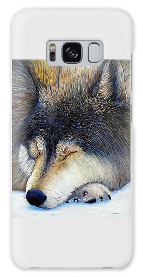 Wolf Galaxy Case featuring the painting Wolf Dreams by Brian Commerford
