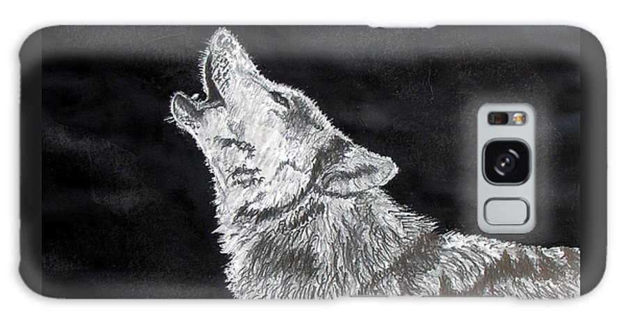 Pencil Galaxy S8 Case featuring the drawing Wolf Howl by Stan Hamilton