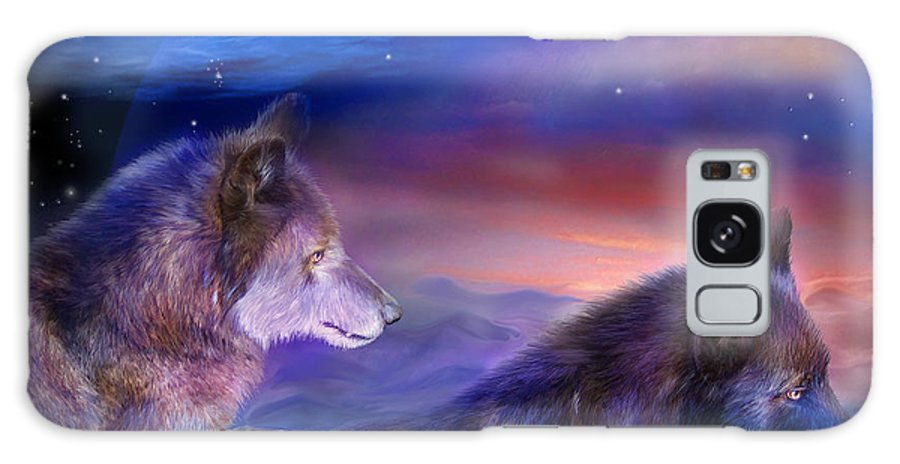 Wolf Galaxy S8 Case featuring the mixed media Wolf Mates by Carol Cavalaris
