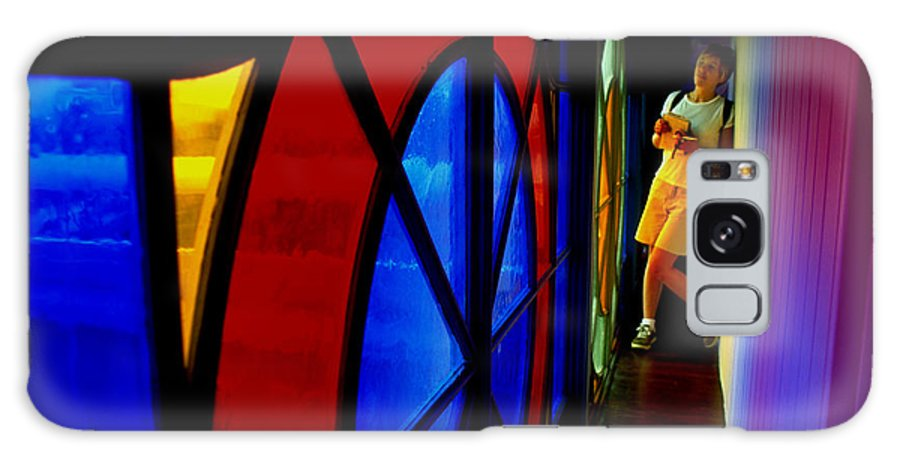 Colorful Galaxy Case featuring the photograph Woman And Stained Glass by Carl Purcell