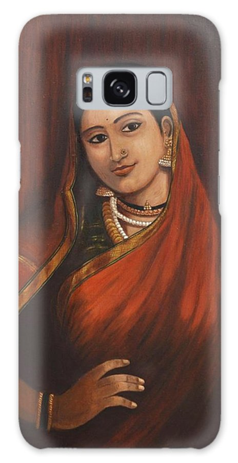 Woman Galaxy S8 Case featuring the painting Woman In Saree - After Raja Ravi Varma by Usha Shantharam