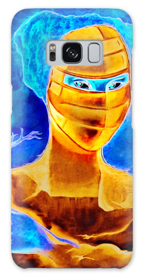 Blue Woman Mask Mistery Eyes Galaxy S8 Case featuring the painting Woman In The Blue Mask by Veronica Jackson