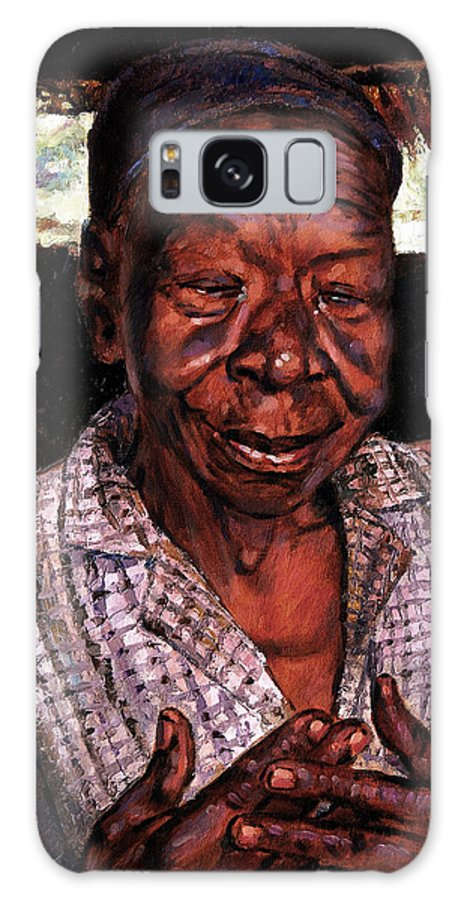 Black Woman Galaxy Case featuring the painting Woman Of Faith by John Lautermilch
