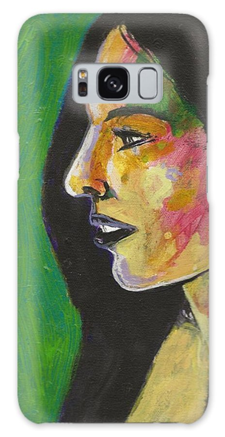 Woman Galaxy S8 Case featuring the painting Woman With Black Lipstick by David Lovins