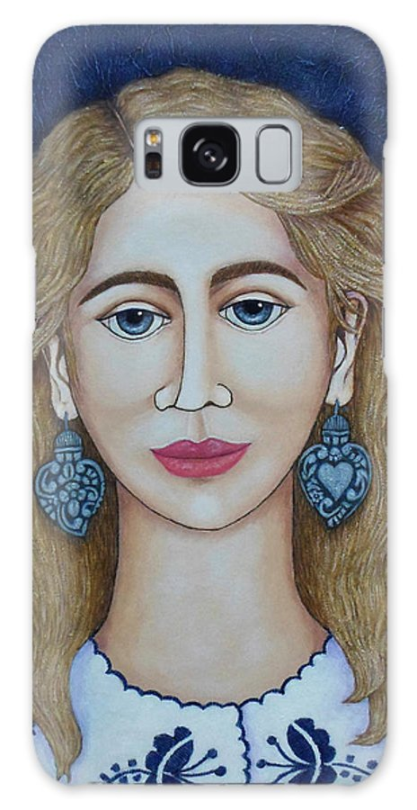 Woman Galaxy S8 Case featuring the painting Woman With Silver Earrings by Madalena Lobao-Tello