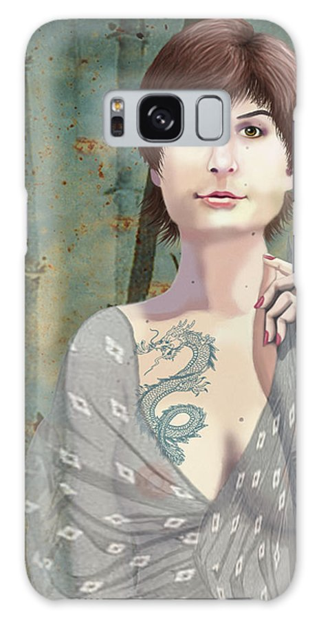 Illustration Galaxy S8 Case featuring the digital art Woman With Tattoo by Lois Boyce