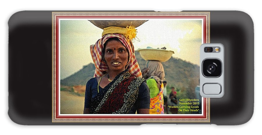 Women Galaxy S8 Case featuring the painting Women Carrying Goods On Their Heads H A With Decorative Ornate Printed Frame. by Gert J Rheeders