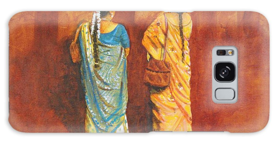 Women Galaxy S8 Case featuring the painting Women In Sarees by Usha Shantharam