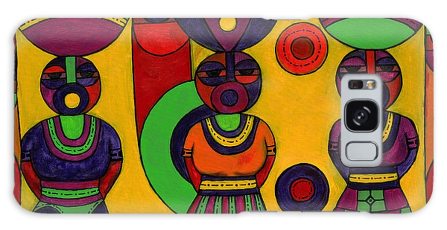 Women Galaxy S8 Case featuring the painting Women With Calabashes II by Emeka Okoro