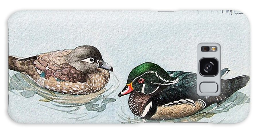Ducks Galaxy Case featuring the painting Wood Ducks by Gale Cochran-Smith