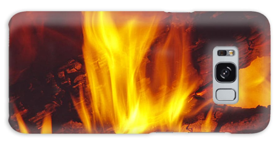 Fire Galaxy S8 Case featuring the photograph Wood Stove - Blazing Log Fire by Steve Ohlsen