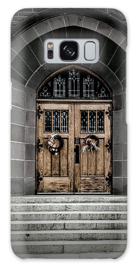 Galaxy S8 Case featuring the photograph Wooden Church Door In Stone Archway by Chester Wiker