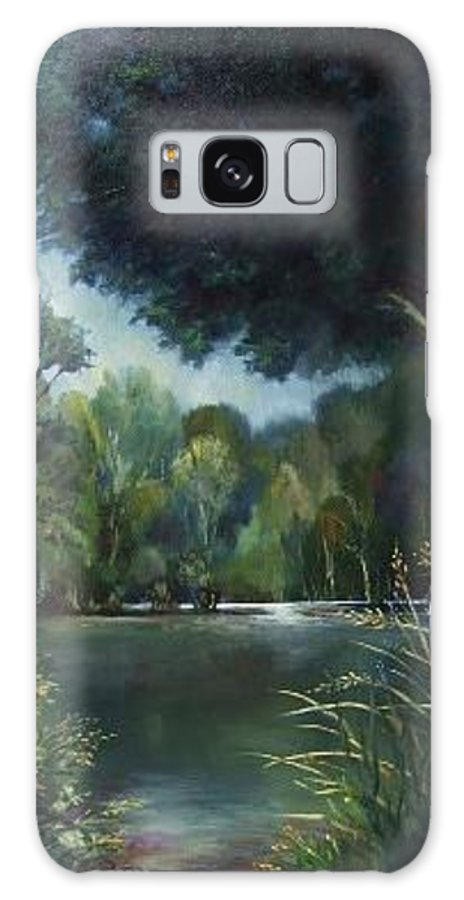 Landscape Woodland Galaxy Case featuring the painting Woodland Pond by Ruth Stromswold
