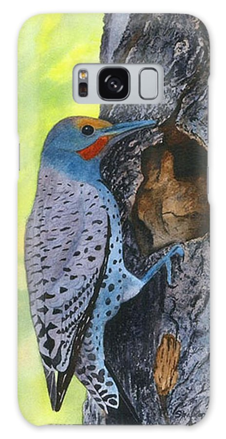 Woodpecker Galaxy S8 Case featuring the painting Woodpecker by Sharon Farber