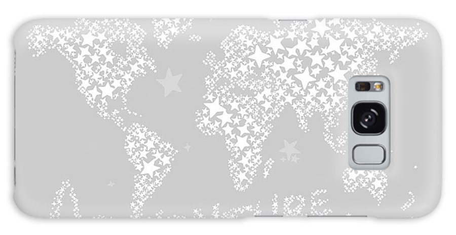 World Map Galaxy S8 Case featuring the digital art World Map For Kids White Gray by Hieu Tran