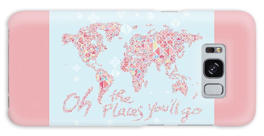 World Map Galaxy S8 Case featuring the digital art World Map Geometric Pink Mint by Hieu Tran