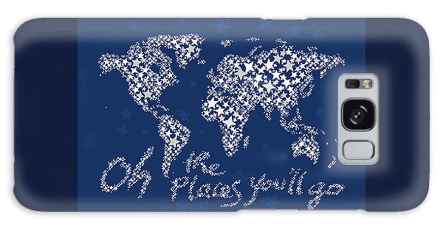 World Map Galaxy S8 Case featuring the digital art World Map White Star Navy Blue by Hieu Tran