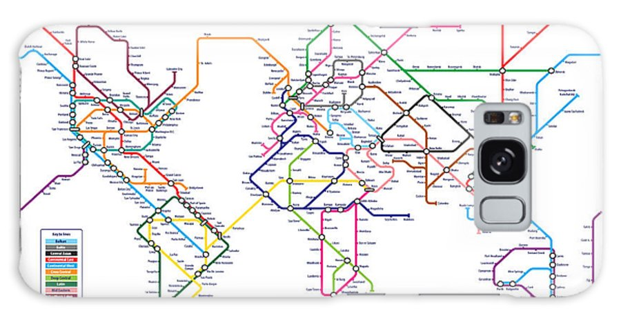 world Map Galaxy S8 Case featuring the digital art World Metro Tube Subway Map by Michael Tompsett