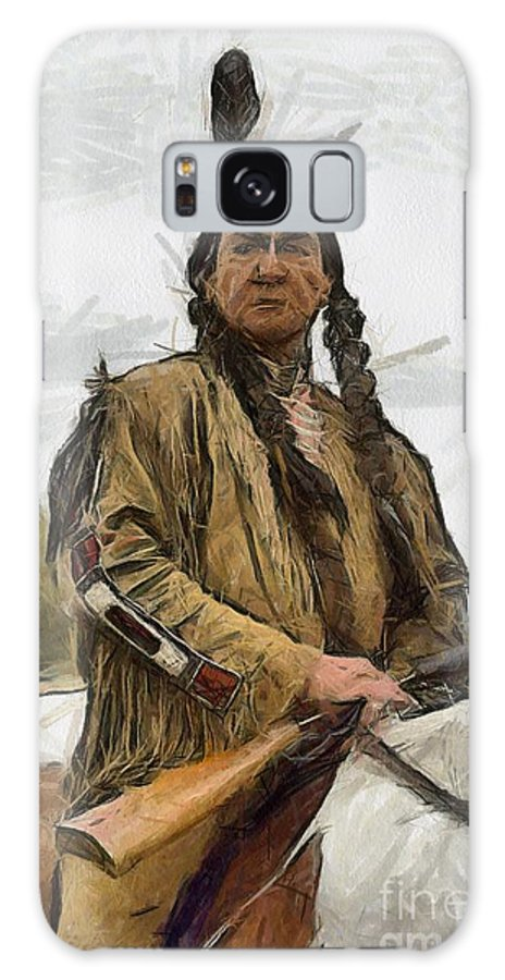 Portrait Galaxy S8 Case featuring the painting Wounded Knee by Murphy Elliott