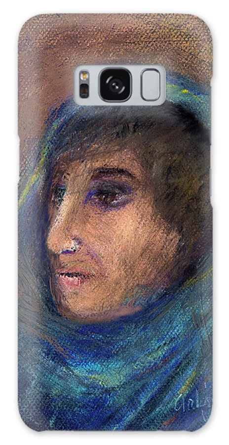 Woman Galaxy S8 Case featuring the pastel Wrapped In A Shawl by Arline Wagner