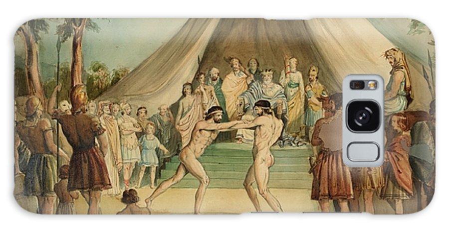 Sir John Everett Millais Galaxy S8 Case featuring the painting Wrestlers by Sir John Everett Millais