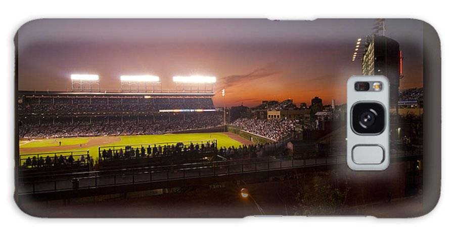 Cubs Galaxy S8 Case featuring the photograph Wrigley Field At Dusk by Sven Brogren