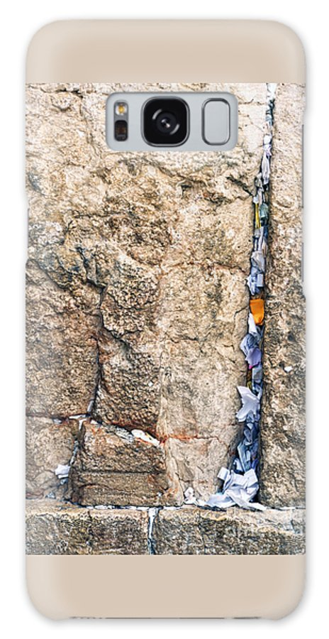 Israel Galaxy S8 Case featuring the photograph Written Prayers Tucked Into Cracks Western Wall Jerusalem by Thomas R Fletcher