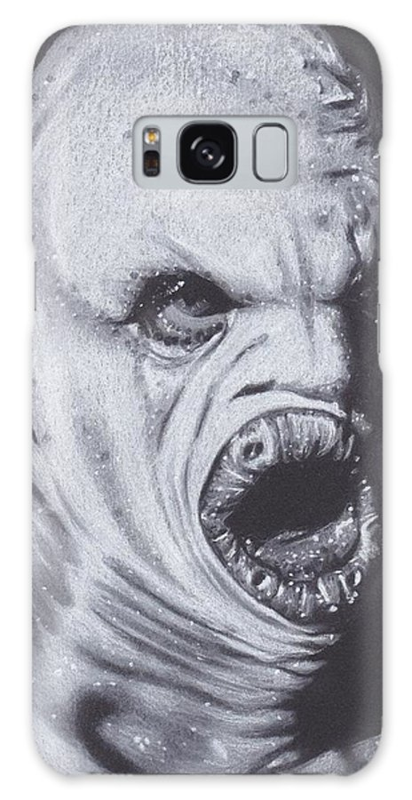 Realistic Galaxy S8 Case featuring the drawing X Files Flukeman by Brittni DeWeese